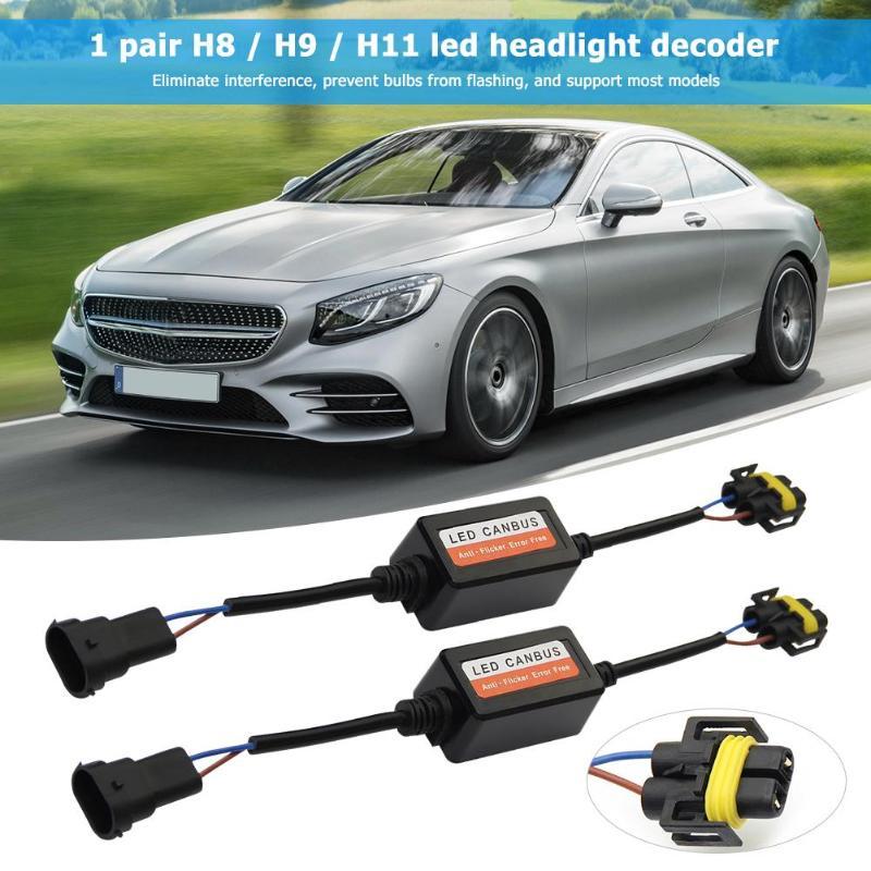 1 Pair H8/H9/H11 Led Headlight Canbus Decoders Error Free Anti Flicker Flash Resistor Canceller Car Light Accessories Black