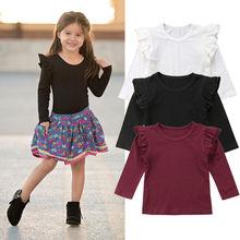 купить Toddler Kids Baby Girl Ruffles Long Sleeve Solid Color Cotton T-shirt Tee Tops Children Clothes дешево