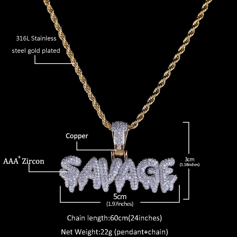 Uwin SAVAGE Pendant Cubic Zirconia Letters & Chains Fashion Hiphop Gold Color Necklace For Men Jewelry