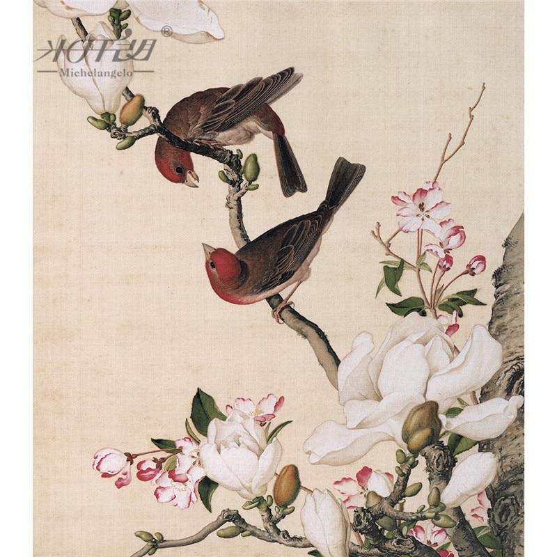 michelangelo quebra cabecas de madeira 500 pecas giuseppe castiglione begonia magnolia flor brid pintura chinesa brinquedo
