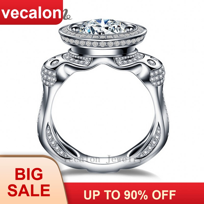 Vecalon Luxury Engagement Wedding Band ring for menn 3ct 5A Zircon 220stk Small Cz 925 Sterling Silver Male Party ring