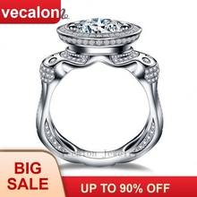 Vecalon Luxury Engagement Wedding Band ring for men 3ct 5A Zircon 220pcs Small Cz 925 Sterling Silver Male Party ring