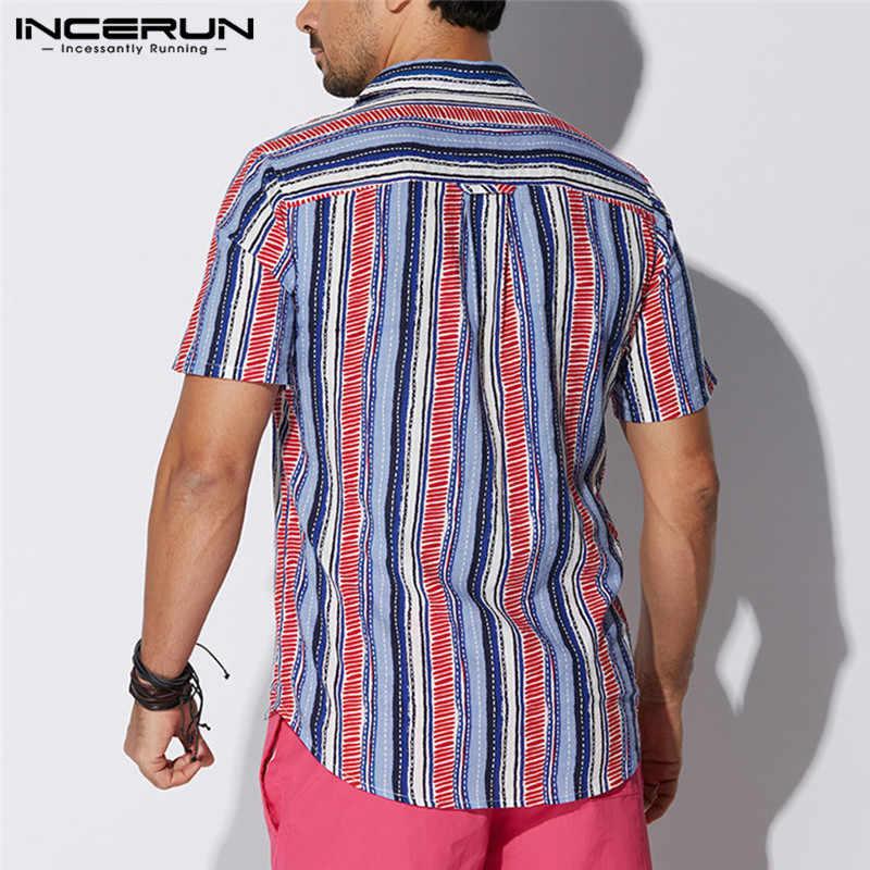 INCERUN カジュアル男性半袖ストライプのシャツの襟ネックルーズビーチシャツ男性ファッションブランドアロハシャツカミーサ夏