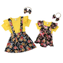 Sister matching floral overall dresses outfits
