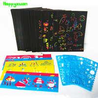 Happyxuan 50 folhas Scratch Papel Cartão Magic Color Rainbow Set com Grafite Stencil para o Desenho Da Arte Da Pintura DIY Toy Kids