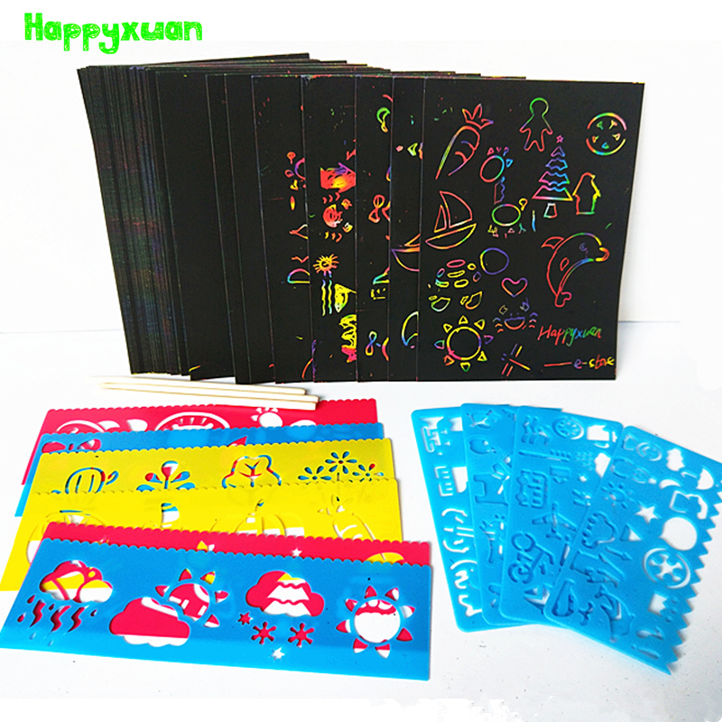 Happyxuan 50 Sheets Magic Color Rainbow Scratch Paper Card Set With Graffiti Stencil For Drawing DIY Art Painting Toy Kids