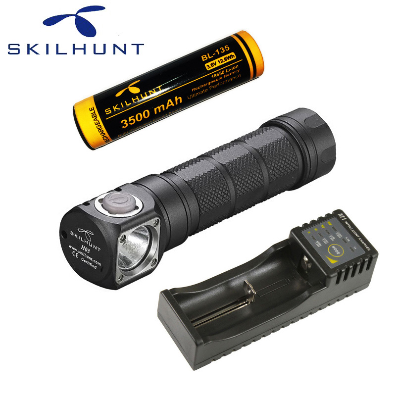 Skilhunt H03R LED Lampe Frontale CREE XML-2 U4 LED 1200Lm phare chasse pêche y compris batterie et chargeur