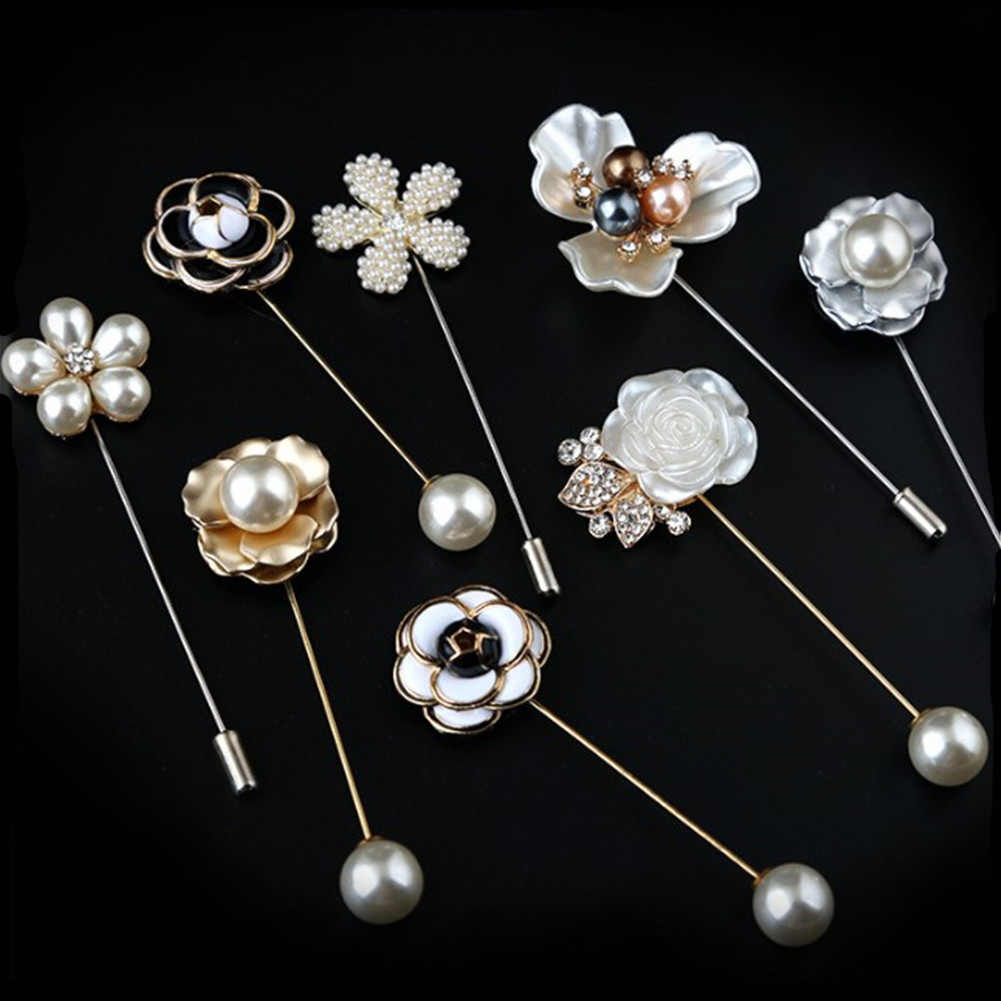 high quality New Sweater Brooch Rose Flower Corsage Camellia Long Needle Pin For Women Shawl Shirt Collar Accessories