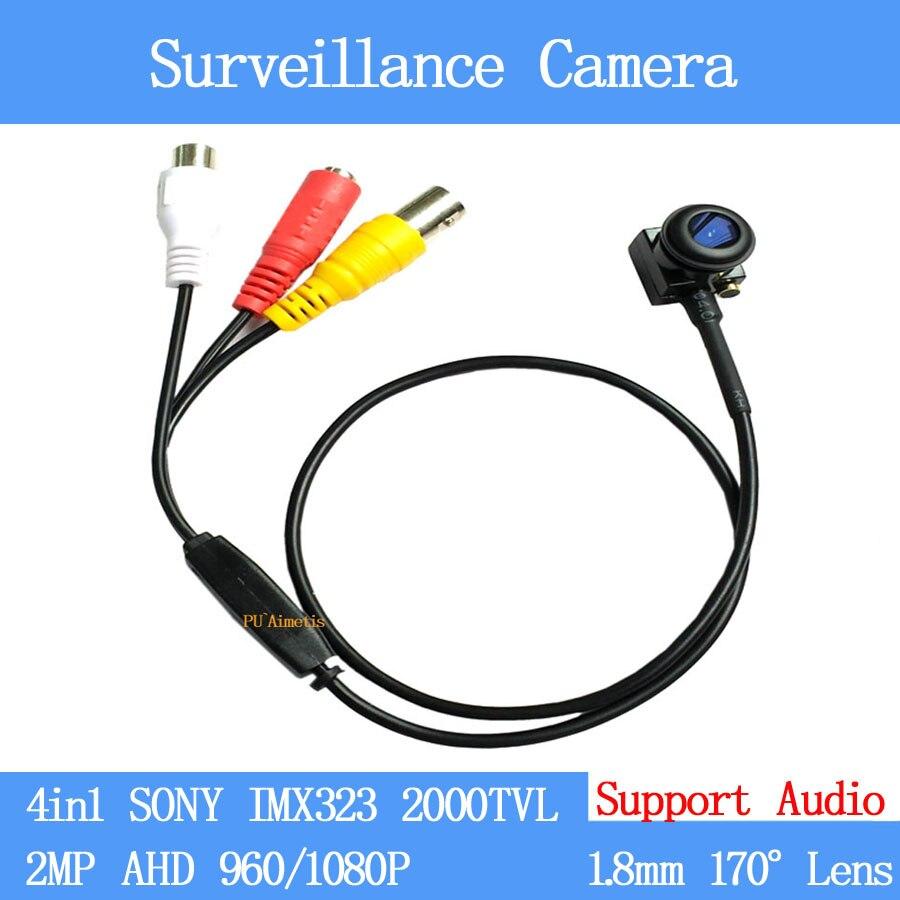 Mais amplo Ângulo de 170 graus CÂMERA de CCTV SONY IMX323 2000TVL 4in1 HD 2MP 960P 1080P Câmera de Vigilância de Segurança com microfone de áudio