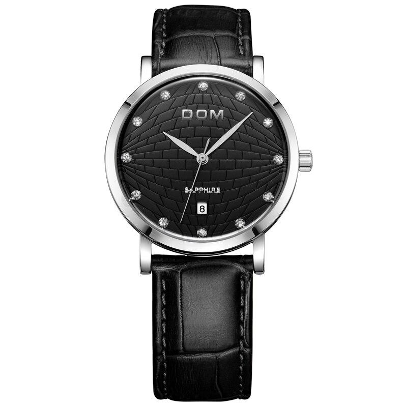 DOM Men's Leather Watch Waterproof Retro Ultra-thin Watch Quartz Calendar Multi-function Watch,M-259L-1M