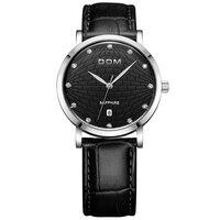 DOM Men's Leather Watch Waterproof Retro Ultra thin Watch Quartz Calendar Multi function Watch,M 259L 1M