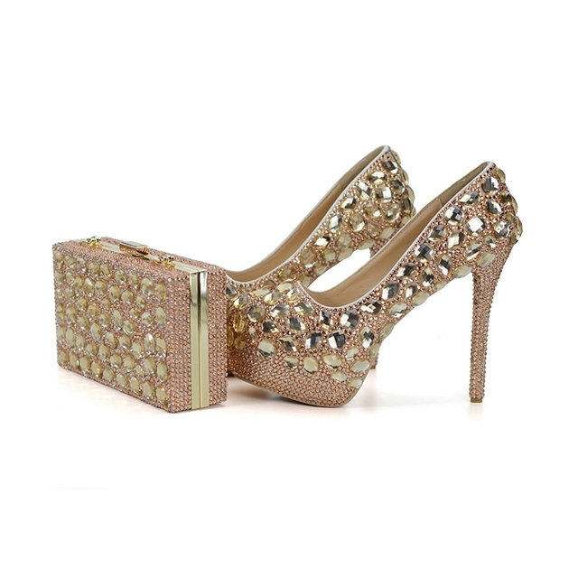 Champagne Wedding Ball Shoes with Matcing Bag Gorgeous Stone Bride Dress  Shoes Graduate Farewell Ceremony Pumps with Purse 7bbde82d6222