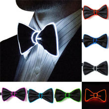 2019 Fashion Men LED EL Wire Necktie Luminous Neon Flashing Light Up Bow Tie For Club fashionable light gray knitted bow tie for men