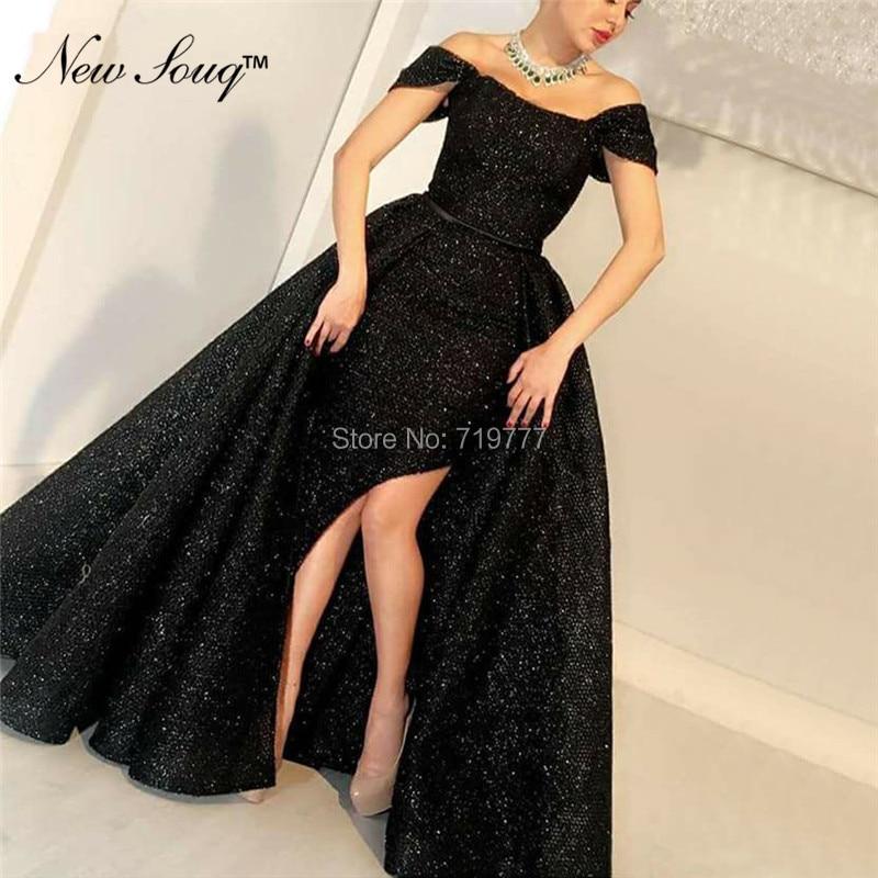 Abendkleider 2019 Black Arabic Evening   Dresses   Muslim Turkish Long   Prom     Dress   High Split Side Party   Dress   Gowns Vestido De Festa
