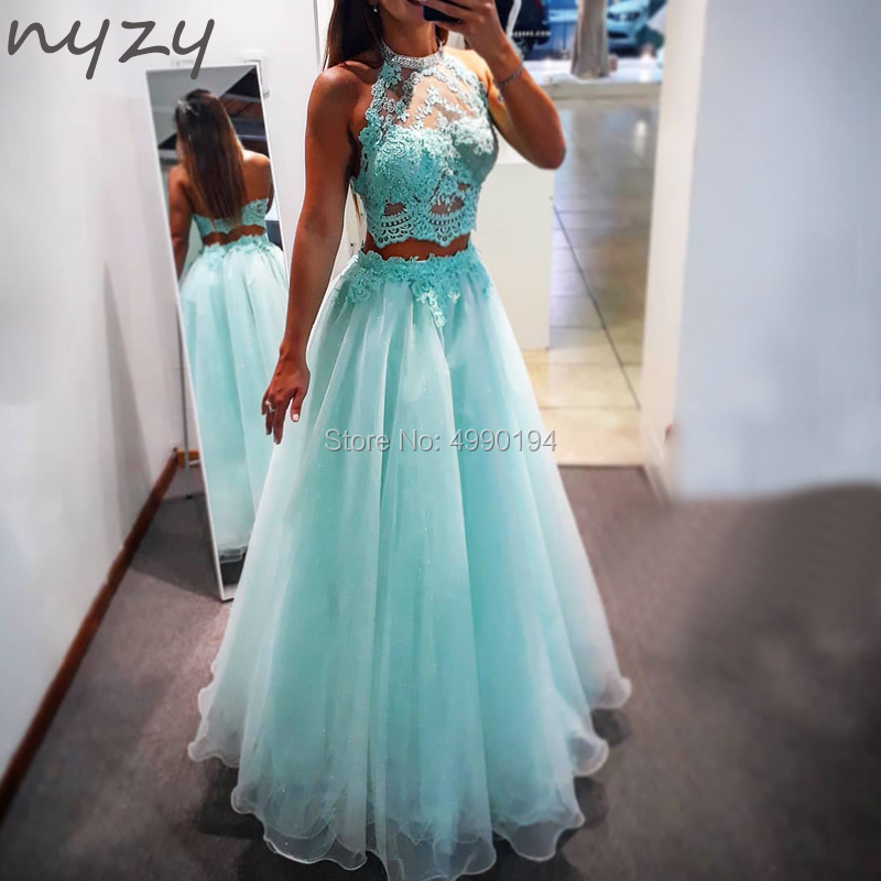 NYZY P12 Lace Organza Two Piece   Prom     Dresses   Long 2019 Graduation   Dress   Party Cheap Custom Made vestido de festa longo robe 2019