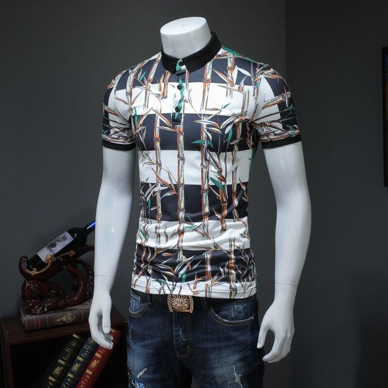 Streetwear New Fashion Stripe Print Men   Polo   Shirt Business Formal Wear HommeShort Sleeve   Polo   Shirt Slim Fit Turn Down Collar