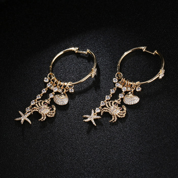 UMGODLY Luxury Cubic Zirconia Crab Drop Earring Gold Color Big Exaggerat Sea Style Starfish Shell Earrings Fashion Women Jewelry