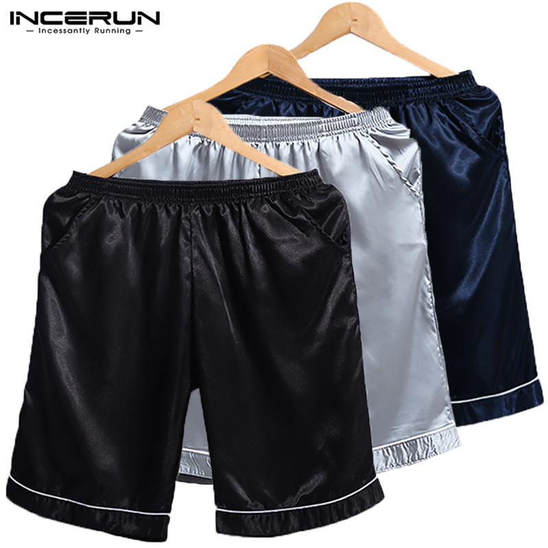 INCERUN Summer Fashion Silk Satin Men Sleep Bottoms Solid Color Elastic Waist Soft Lounge Short Homewear Pajama Shorts Men 2019
