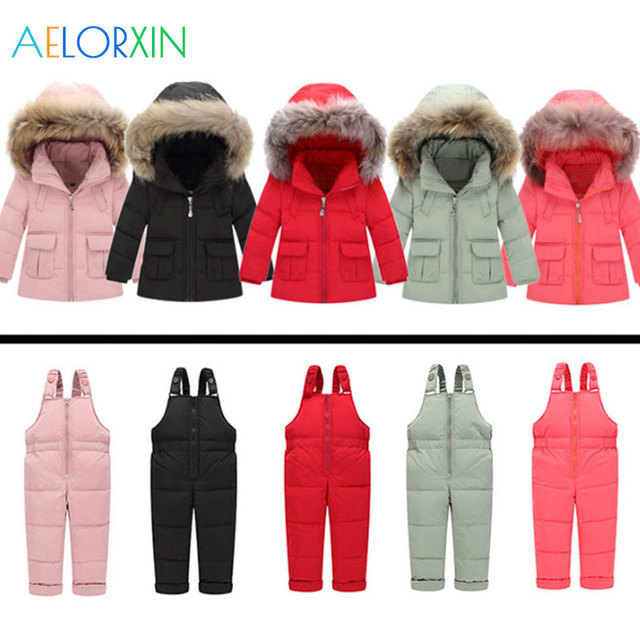 7990fb5bf 2018 Winter Overalls Two piece Coat + Overalls Warm Kids Snowsuit ...