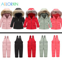 2018 Winter Overalls Two piece Coat + Overalls Warm Kids Snowsuit Duck Down Jacket Suits For Baby Girl Clothes Children's Down