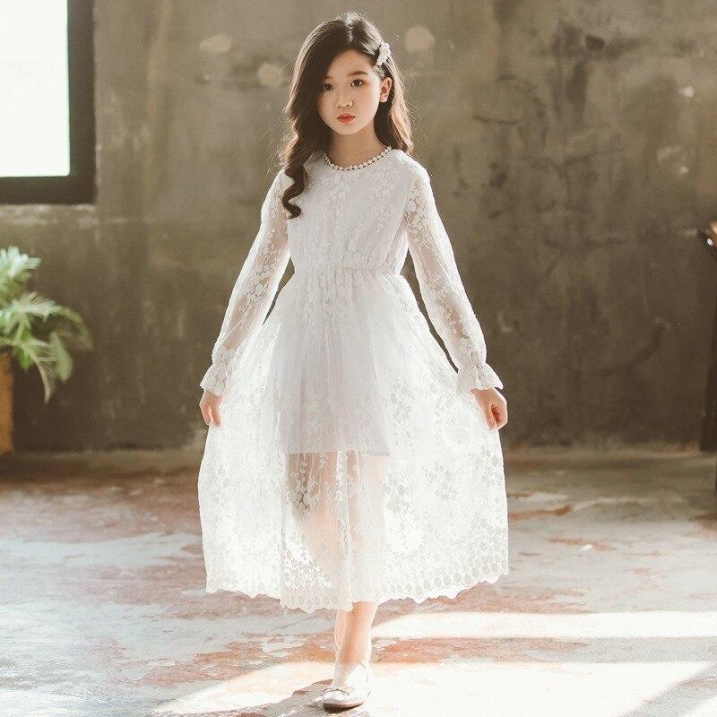 Broderie Floral dentelle fleur filles robe blanche Maxi longues robes pour filles fête Maxi Long printemps automne 2019 enfants vêtements