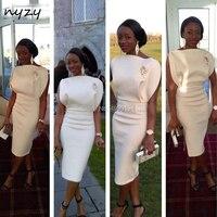 White Cocktail Dress 2019 Elegant Tea Length Side Slit Short Party Dress gown graduation homecoming NYZY C9