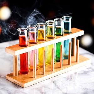 Image 2 - 6 Pcs מבחנת קוקטייל זכוכית מתלה סט בר KTV לילה מועדון מועדון לילה בית המפלגה Shot זכוכית טיפסי מולקולרי יין כוס