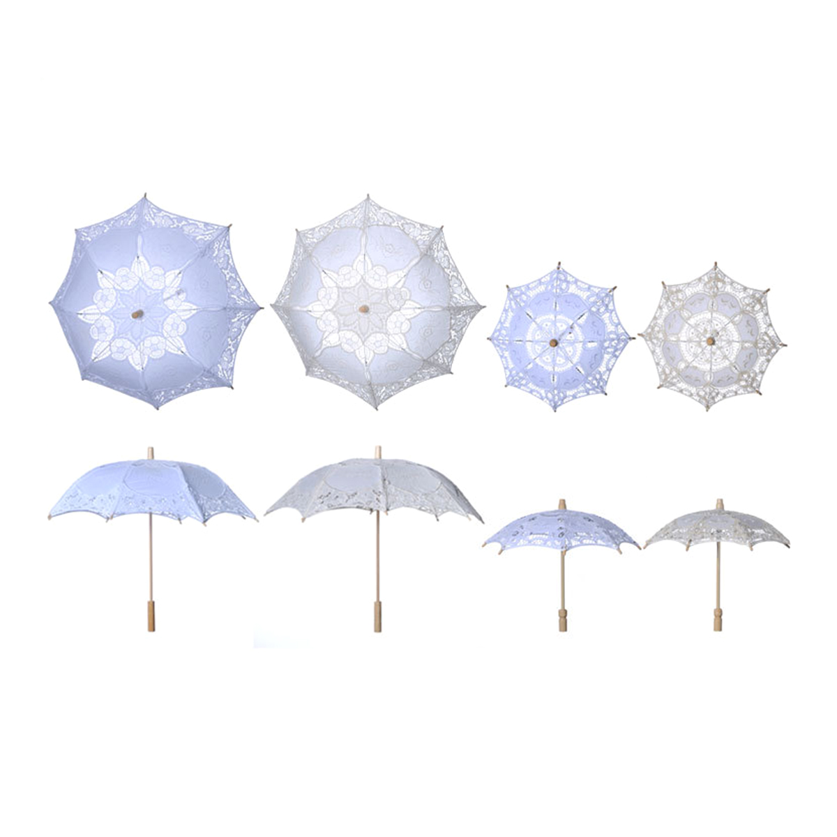 Image 4 - Bridal Wedding Umbrella Lace Cotton Embroidery Handmade Parasol Umbrella For Wedding Romantic Photo Props L Size 60cmBridal Umbrellas   -