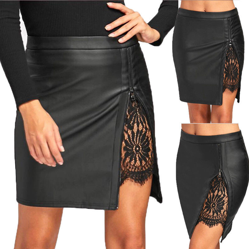 Hot sale women bodycon pencil <font><b>skirts</b></font> PU Leather High Waist fashion Zipper summer <font><b>fall</b></font> mini <font><b>skirt</b></font> Clubwear lace crochet patchwork image