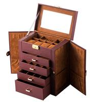 Fashion Mirrored Watch Organizer Synthetic Leather Huge Jewelry Box Brown Necklace Ring Earring Storage Lockable Gift Case