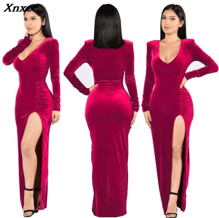 Autumn Club Velvet Dress Bodycon Christmas fashion high slit dress celebrity maxi Long Sleeve red grey navy Party Dress Vestidos in Dresses from Women 39 s Clothing