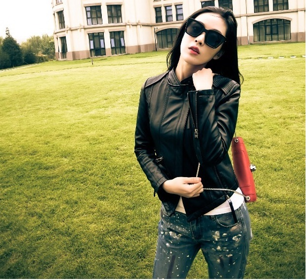 ,wholesales Genuine   leather   woman slim coatfashion biker Asian size sheepskin jacket Brand   Suede   6999 dollar