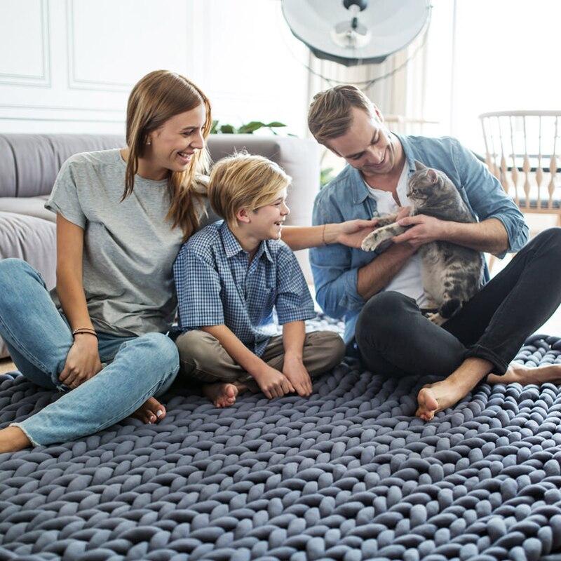 2018 INS акрил грубые линии толстые вязаные одеяло s зимнее lager одеяло машинная стирка домашний декор Плед s - 4