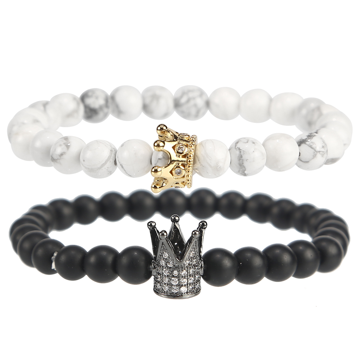 Bracelet accessories product dumb black frosted natural white hoard of crown charm bracelets bracelets jewelry stone couples