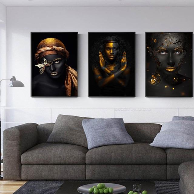 Figure Modern Black Skinned Women Gold Wall Art Canvas Painting