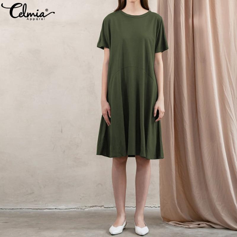 Celmia Plus Size Shirt Dress 2019 Summer Short Sleeve Women Knee-length Dress Casual Loose Tunic Vestido Femme Clothes Plus Size
