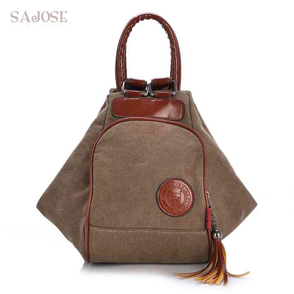 Fashion Canvas Backpack Women Leisure Back Pack Ladies Knapsack Casual Backbags for School Teenage Classic Bagpack With TasselBackpacks   -