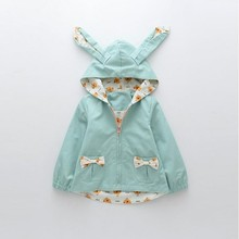 girls autumn jackets green bunny 3D EARS fashion coats kids for clothing children spring