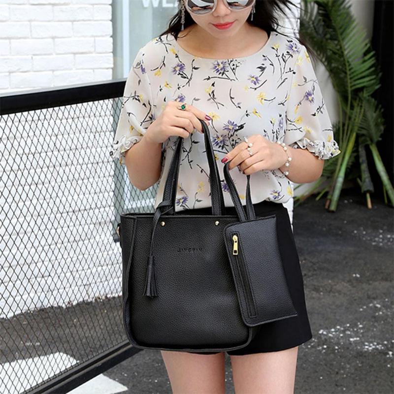 4pcs/set Litchi Leather Tassel Handbags  4