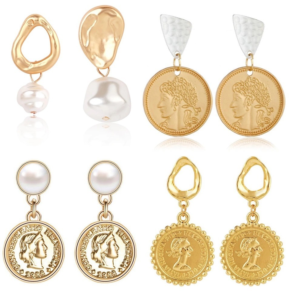 HONGYE New Pattern Exaggeration Gold Drop Earrings for women Alloy Baroque Pearl Coin Earrings Fashion Jewelry Brincos 2019 in Drop Earrings from Jewelry Accessories
