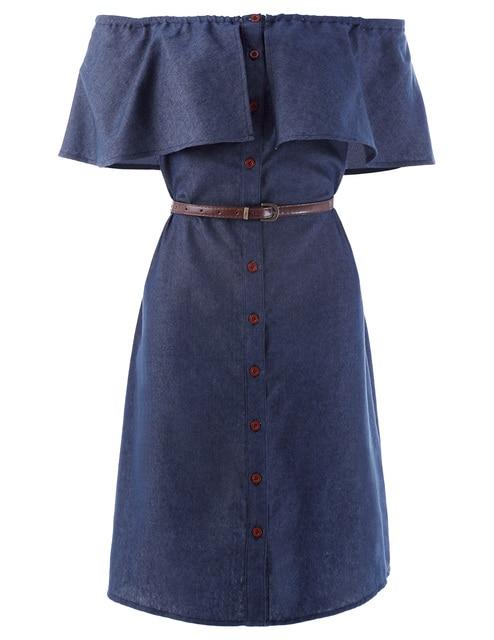 19c9f3f59ab Summer Dresses Women Retro 1940s Style Off Shoulder Button Up Denim Shirt  Dress 50s Jean Dresses