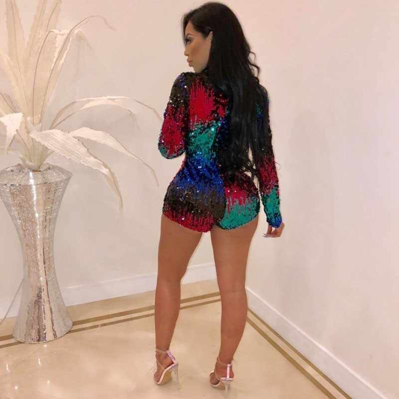 0ae493ccc94 ... Sequin 2018 Sexy Party Jumpsuits Playsuits Deep V Neck One Piece Sexy  Bling Long Sleeve Bodysuit ...