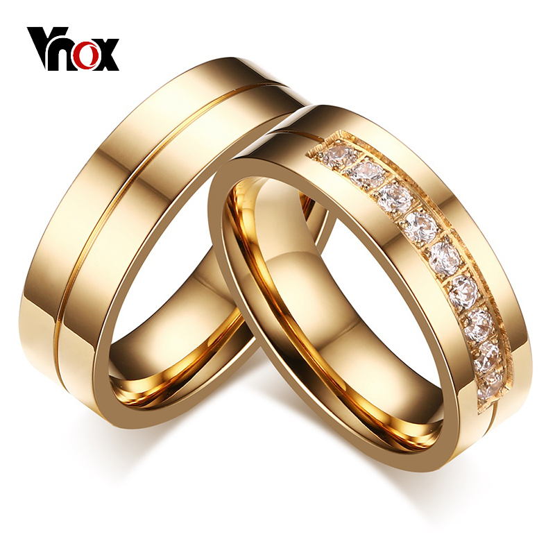Vnox 1 Pair Wedding Rings for Women Men Couple Promise Band Stainless Steel Anniversary Engagement Jewelry Alliance Bijoux