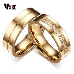 Vnox 1 Par Anéis de Casamento para Mulheres Homens Casal Promessa Bijoux Jóias Aliança de Noivado do Aniversário de Aço Inoxidável Banda