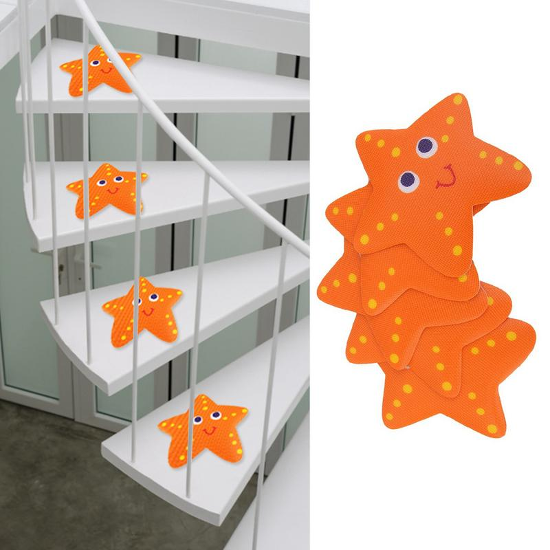 5Pcs 3D Wall Stickers Carpet Non Slip Bath Sticker Bathtub Treads Tub Sticker Cartoon Starfish Stair Anti-slip Sticker Bath Mat