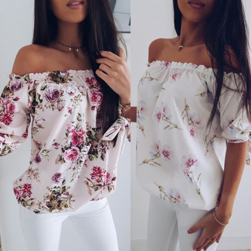 Meihuida Women's Off Shoulder Blouse Shirts Ladies Summer Beach Casual Loose Tops Tee Print Shirts