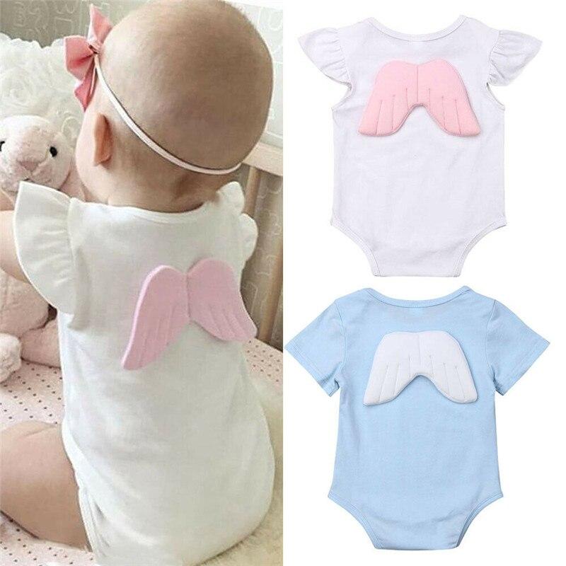 Adorable Newborn Kid Boy Girl Wing Bodysuit Jumpsuit Cotton Short Sleeve Sunsuit Cute Angel Infant Clothes 0 to 18M