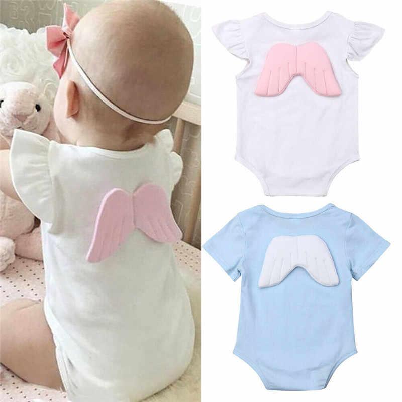 Adorable recién nacido chico niña ala mono de algodón de manga corta traje de sol lindo Ángel ropa infantil 0 a 18M