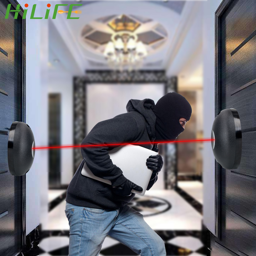 HILIFE External Positioning Alarm Detector Against Hacking System Single Beam Infrared Radiation Sensor Barrier