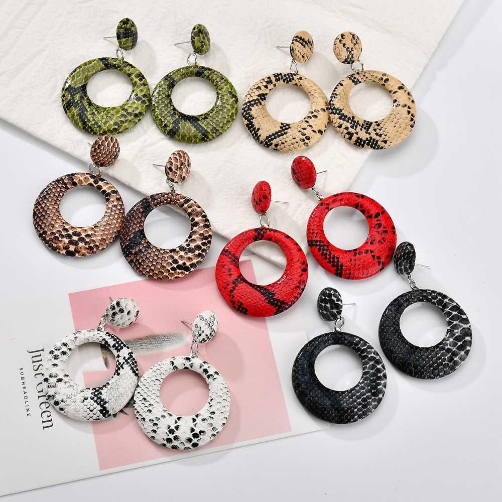Oversize Geometric Drop Snake Earrings For Women Punk Vintage Big Snake Skin Dangle Earrings Female Jewelry Gift Bijoux 2019 New